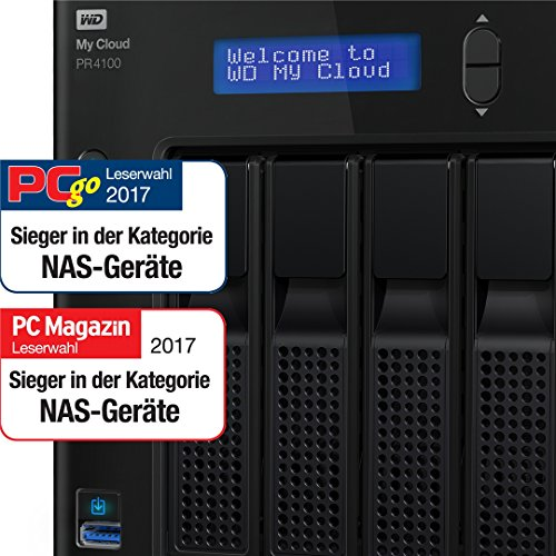 WD My Cloud PR4100 32 TB – Network Attached Storage – 2 Bay NAS Pro-Serie – integrierte Videotranskodierung, Videostreaming