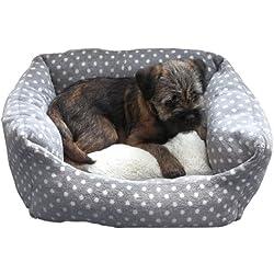 Rosewood 40Winks Pequeño perro/gato para dormir cama, 40,6cm, gris/crema SPOT