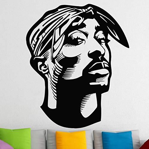 Hip Hop Tupac Shakur Wandaufkleber Für Kinder Jungen Zimmer 2Pac Vinyl Wandtattoos Wohnzimmer Wohnkultur Muursticker Wandkunst 56X67cm