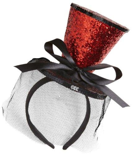 Widmann 0070J - Minizylinder rot Glitter, auf Haarreif, mit Schleife und (Rote Kostüm Hut)