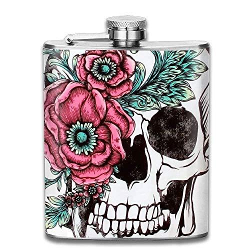 Gxdchfj Gorgeous Sugar Skull with Flower Tattoos Portable Stainless Steel Flagon Liquor Flask