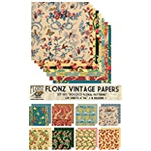 "Paper Pack (24sh 6""x6"") Rococo Baroque Floral Patterns FLONZ Vintage Paper for Scrapbooking and Craft"