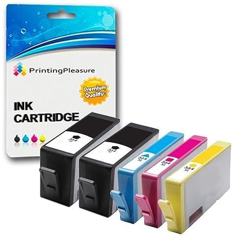 5 Cartouches d'encre compatibles pour HP Deskjet 3070A, 3520, 3522, 3524 / Officejet 4610, 4620 / Photosmart 5510, 5511, 5512, 5514, 5515, 5520, 5522, 5524, 6510, 6512, 6515, 6520, 7515, B010a, B109a, B109d, B109f, B109n, B110a, B110c, B110e / Photosmart Plus B209a, B209c, B210a, B210c, B210d / Remplacement pour HP 364XL