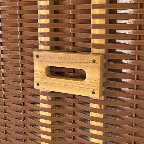 Strandkorb Deluxe Polyrattan Sylt Ostsee Volllieger inkl. 4 x Kissen XL120cm Beige Unifarben - 6