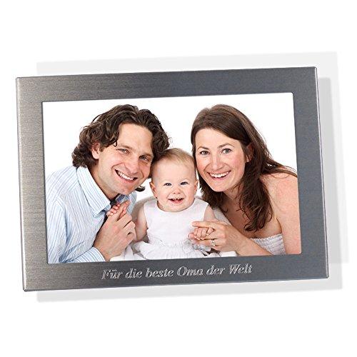 Diamandi Bilderrahmen mit Gravur   Metall Silber Matt   für 13 x 18 cm Foto   Querformat Fotorahmen