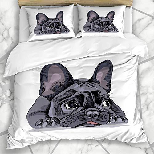 Französisch Sham (Soefipok Bettbezug-Sets Cool Dog Französische Bulldogge Nature Puppy Sad Hand Funny Bored Design Lügen Mikrofaser Bettwäsche mit 2 Pillow Shams)