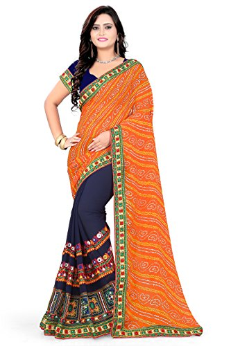 RIVA ENTERPRISE Women's Georgette Embroidered Saree with Blouse Piece (RIVA209__Orange and Navy...