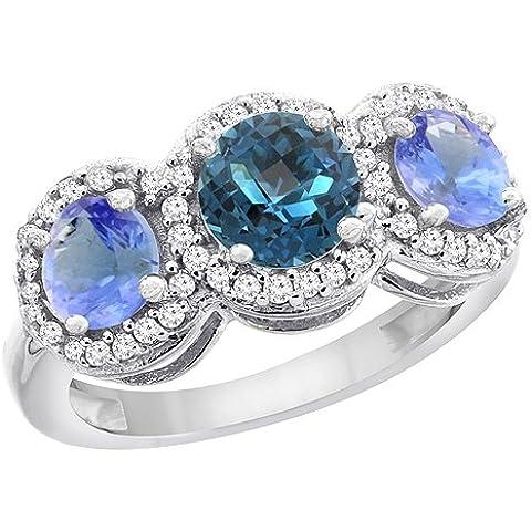 Revoni 9ct amarillo o de oro blanco Natural London Azul topacio & Tanzanita lados redondo 3-Stone anillo diamantes, tamaño