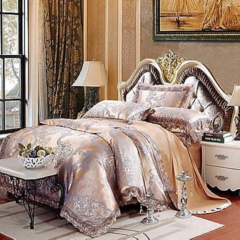 SQL Reina rey tamaño cama lujo tela algodón de seda mezcla encaje tejido tejer . queen