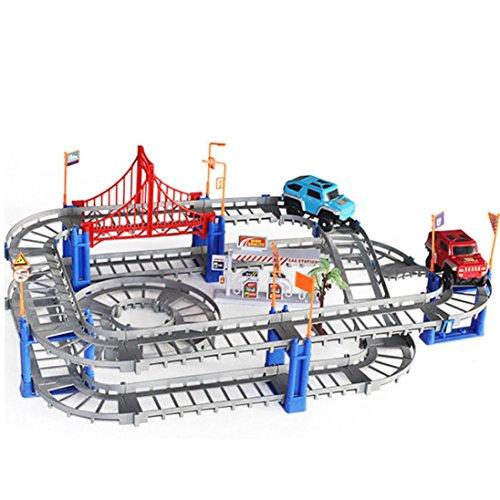 HKFV 73 stücke block set drehen diy twister auto racing tracks elektrische auto spielzeug Vielzahl von Waggons Auto Spielzeug Orbit-Montagewagen (Grau)