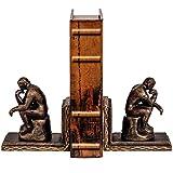 2 Reggilibro pensatore ferro figura scultura en stile antico 13cm