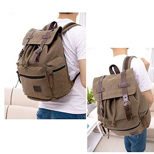 Sammua Jungen Canvas Schultertasche Computer Rucksack beiläufige Rucksack Travel Wandern Daypack Bookbag - Schwarz Khaki