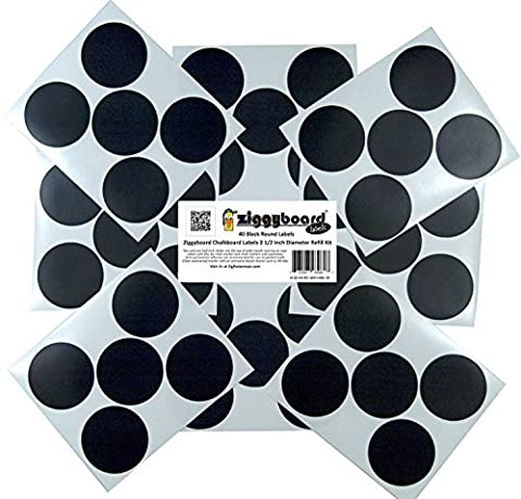 Ziggyboard Chalkboard 2 1/2 Inch Round Canning, Spice or Kitchen Label Refill Kit 40 Round Stickers by Ziggyboard