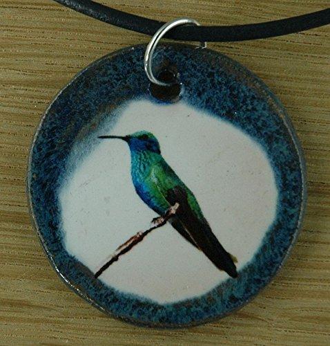 Echtes Kunsthandwerk: Hübscher Keramik Anhänger mit einem Kolibri; Vogel, Vögel, leicht, Nektar, kleinster Vogel (Kleinste Leichter)