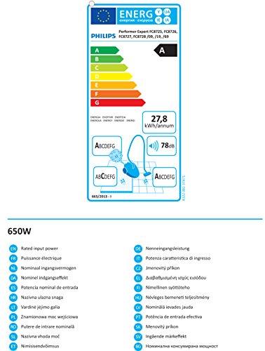 Philips fC8728/09 expert performer aspirateur pour sols durs inclus-a-düse airSeal avec filtre hEPa 13, 1 télécommande classe énergétique a