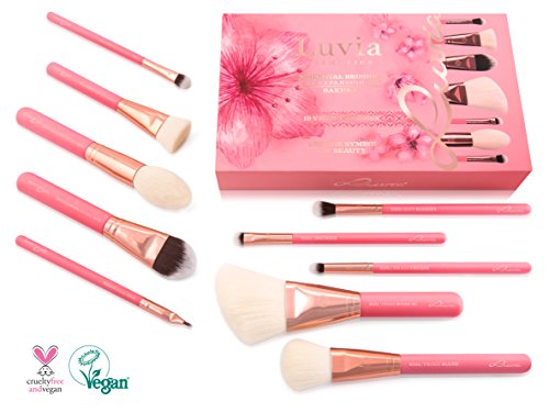 Luvia Makeup Pinsel-Set - 10 Make Up Kosmetikpinsel Inkl. Schminktasche Für Schminkpinsel & Kosmetik - Sakura Brush Set - Vegan - Pinselset In Pink/Rosegold (Mädchen Make-up Pinsel Set Rosa)