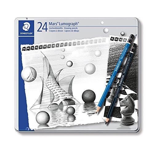 Staedtler Mars Lumograph, Crayons à dessin de haute qualité pour artistes, Boîte en métal avec 20 crayons graphites 9B-9H et 4 crayons graphites enrichis en carbone 8B/6B/4B/2B, 100 G24 S