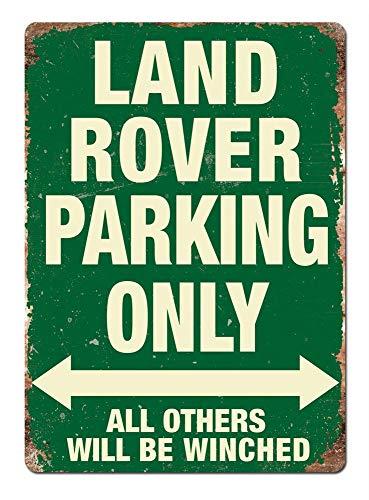 JIA KOAH Land Rover Parking Green Kitsch Shabby Chic Garage Signo de Lata Decoracion Metalica Pared Cartel Recuerdo