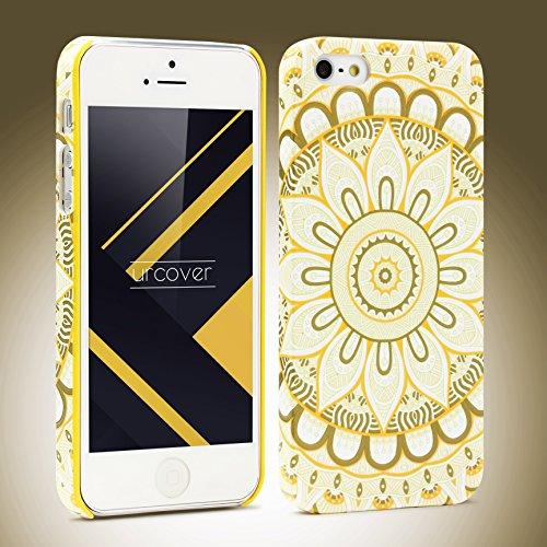 Coque iPhone 5 / 5s / SE, Urcover Mandala Colorful Case Housse Apple iPhone 5 / 5s / SE Étui Rigide et Colorée Téléphone [Plastique Dur] Fuchsia Cover Blanc