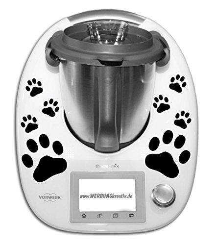 Preisvergleich Produktbild Aufkleber Sticker Thermomix TM 5 Pfoten Hundepfoten Hund Katze Spuren Pfötchen Thermo in 33 Farben matt oder glänzend