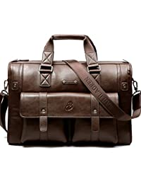 2197d3103833 Ruiatoo Men s Vintage Leather Multi-pocket Briefcase Laptop Shoulder  Business Messenger Bags