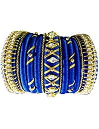 Blue Jays Hub Silk Thread Blue And Gold With Metal Color Bangles Set Of 13 For Women/girls