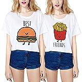 Mejores Amigas Camiseta Best Friends Shirts 100% Algodón 2 Piezas Impresión Dibujos Animados Manga Corta Casual Verano Para Mujer(Blanco+Blanco,Best-S+Friends-S)