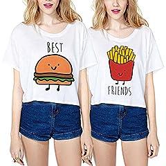 Idea Regalo - Best Friend Cotone Shirts Cartone Animato Coppia T-Shirt Sciolto Corta Stampa Manica Corta Maglietta Migliori AmiciGirocollo Estate per Donna Moda Graphic Tumblr(Bianco,Best-M+Friends-M)