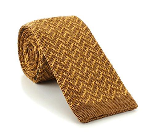 Brown / or Zig Zag soie tricoté Skinny cravate de Michelsons of London
