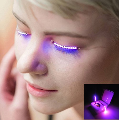 BizoeRade Led Wimpern, Sprachsteuerung LED Falsche Wimpern Litch, 8 Modi Wsserdicht LED Wimpern Lichter für Party, Halloween, Weihnachten, Night Club Pub Club Bar Konzerte Geburtstag, lila