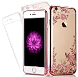 KC Shockproof Silicone Soft TPU Transparent Auora Flower Case with Sparkle Crystals Soft Back Cover For iPhone 5s & iPhone SE