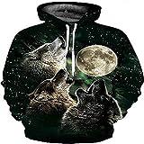 TING Impresion Digital en 3D de Gran tamaño de Camiseta Deportiva Alrededor de la Luna Lobo Hooded Sweater Loose Hooded Sweater suéter de los Hombres,5XL.