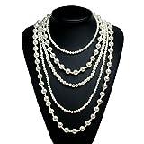 Babeyond Damen Halskette Art Deco 5 Schichte Imitation Perlen Halskette Flapper Stil Perlenkette langes Collier