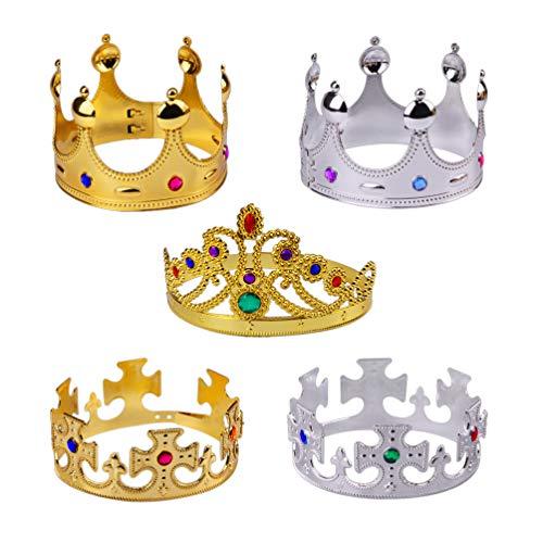 Kostüm Der Monarch - UPKOCH Kronen der Halloween-Partei 5pcs die Plastikkönigin überziehen krönt Foto-Stützekronen für Kinderhalloween-Kostüm