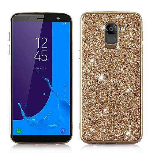 Yobby Bling Glitzer Funkeln Hülle für Samsung Galaxy J6 2018, Samsung Galaxy J6 2018 Handyhülle Mode Design,Hart PC Zurück + Stoßfest TPU Rahmen Stoßstange Schutzhülle-Gold