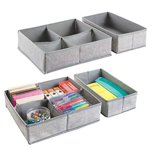 mDesign 4er-Set Schubladen Organizer - Stoff Aufbewahrungssystem für Büroutensilien - Schubladeneinsätze mit je 5 Fächern für Stifte, Haftnotizen, Büroklammern etc. - grau