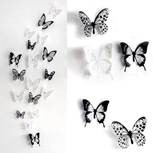 hmetterlinge Set 2x18 Stk. schwarz weiss | Wanddeko home Dekoration Butterfly Deco für Babyzimmer Kinderzimmer Wohnzimmer Schlafzimmer (Kleiner Schlafzimmer Tv)