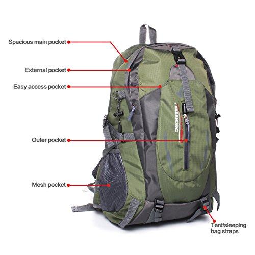 Geila Outdoor Sport Wasserdichte 40L Wandern Camping Daypack Gepäck Rucksack Schwarz