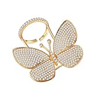 Butterfly Rings for Women - Cubic Zirconia Rings Can Adjustable Finger Size and Moving Wings 18K Gold Plated AAA Zirconia, Perfect for Party and Gift for Women
