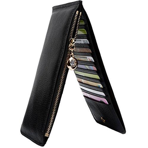 VANCOO da donna in vera pelle Multi Card Organizer a Portafoglio con cerniera, tasca Litchi Linee (pacchetto di alta qualità) Black