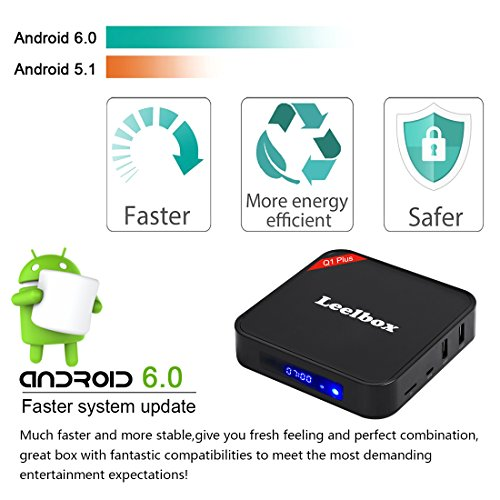 Leelbox Q1 Plus Android 6.0 TV Box Smart TV Box de 1GB RAM+8GB ROM S905X Soporta 4K (60HZ)/WIFI/3D/4K/HD/H.265