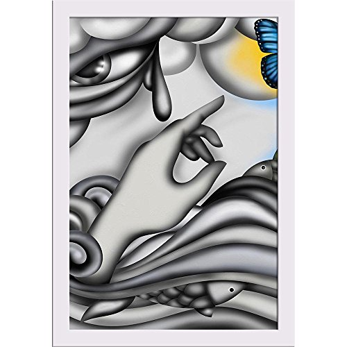 ArtzFolio Colorful Butterflies & Rainbow Poster White Frame with Glass 9.5 X 13.5Inch