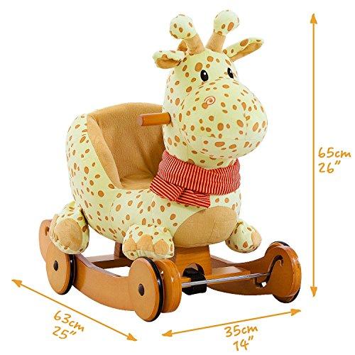 Labebe Baby Schaukelpferd Holz, 2-in-1 Schaukelpferd mit Räder, Schaukeltier Giraffe Gelbe für Baby 1-3 Jahre Alt, Schaukel Pferd/Schaukel Baby/Schaukeltier Musik/Schaukel Kinder/Schaukel Spielzeug - 4