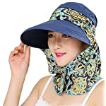 2-in-1 Folding Roll Up Wide Brim Sun Visor Cap UPF 50+ UV Protection Sun Hat with Detachable Neck Protector Hood for Travel Holiday Beach Swimming Cycling Camping Hiking Trekking Running Headwear 83