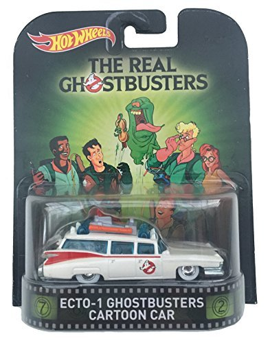 """Ecto 1 Ghostbusters Cartoon Car \""""The Real Ghostbusters\"""" Hot Wheels 2015 Retro Series 1/64 Die Cast Vehicle"""