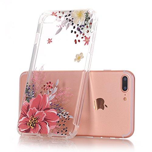 iPhone 7 Plus hüllt, LUOLNH Schlank Stoß- Klare Blumenmuster weiche flexible TPU rückseitige transparent Abdeckung für Apple iPhone 7 Plus [5,5 Zoll] -Blaue Rose Rosa Pfingstrose