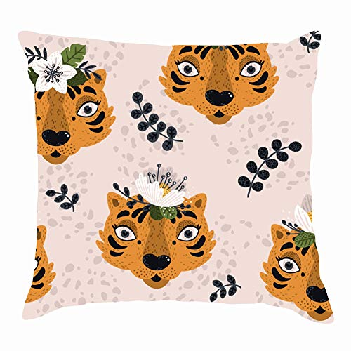 dfgi Animal Print Cute Tigers Animals wildlifeThrow Pillow Covers Cotton Linen Cushion Cover Cases Pillowcases Sofa Home Decor 18