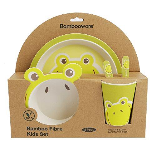 5-teiliges Bambus Geschirr Set für Kinder–Kinder Abendessen Set inkl. Besteck, Bambus Schale rund, Bambus, Kleinkinder und Kids Cup–Umweltfreundlich, BPA-frei und spülmaschinenfest Smiley Frog