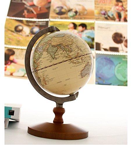 kiaotime 5cm diámetro marrón Vintage mundo mundo antiguo decorativo Escritorio giratoria Globe Tierra Geografía Globo Base de madera educativos globo boda escuela los niños regalo