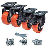 CoolYeah Ruedas de PVC para placa giratoria de 75mm, industriales, ruedas de alta resistencia (paquete de 4, 2 con freno y 2 sin ella)